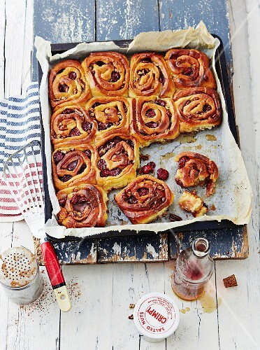 Sticky buns with cherries