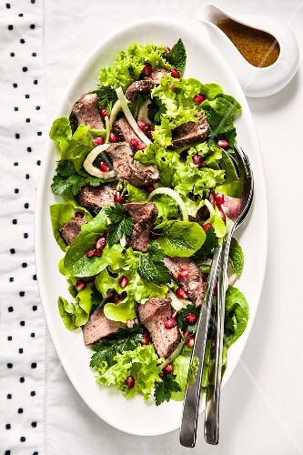 Venison and fennel salad with pomegranate seeds