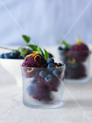 Berry sorbet with blueberries