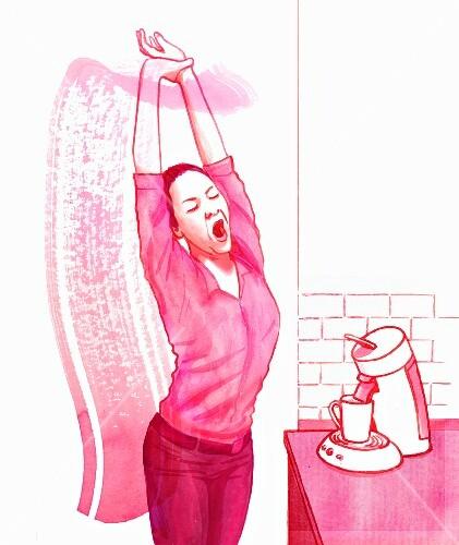Yawning awake (yoga)