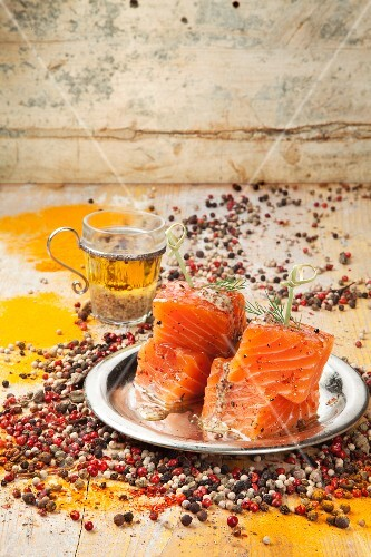 Marinated salmon with pepper and mustard vinaigrette (Spain)