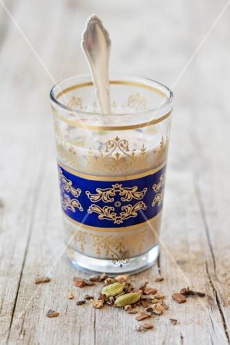 Yogi tea in an oriental tea glass