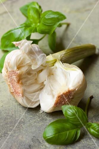 An arrangement featuring garlic and basil