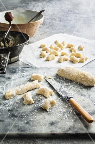 Kneading Potato and Rice Flour for Homemade Gnocchi