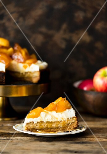 Persian love cake with poached apples
