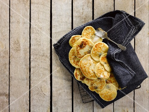 Pikelets on a cloth