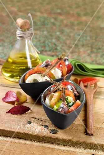 Tomato salad with goat's cheese and anchovies (Spain)