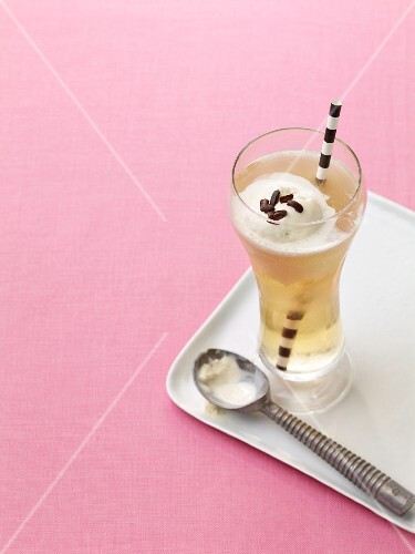 A cold chocolate float with ice cream
