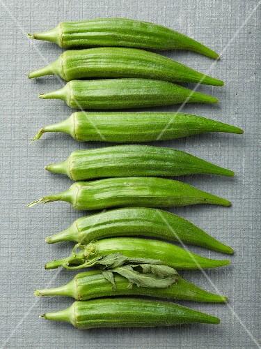 A row of okra