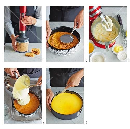 New York cheesecake being made