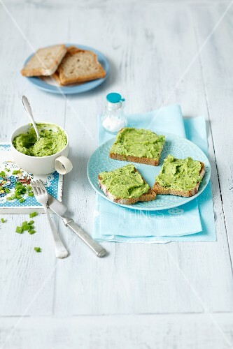 Pea and avocado cream on bread