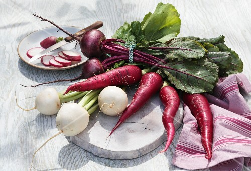 Radishes and beetroot on a garden table