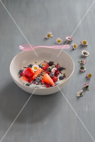 Berries with yoghurt in a white porcelain bowl with cocoa nibs, a pink spoon and daisies