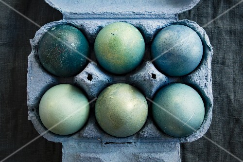 Easter eggs in a blue box