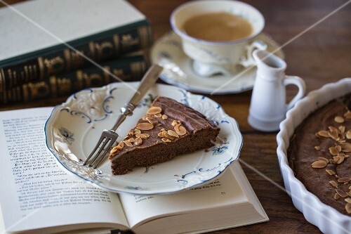 French chocolate cake with almonds