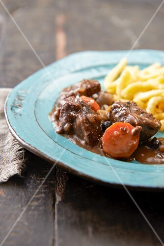 Wild boar ragout with soft egg noodles