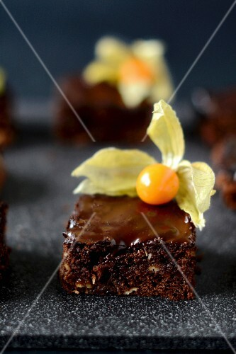 Chocolate cake with physalis (Cape gooseberries)
