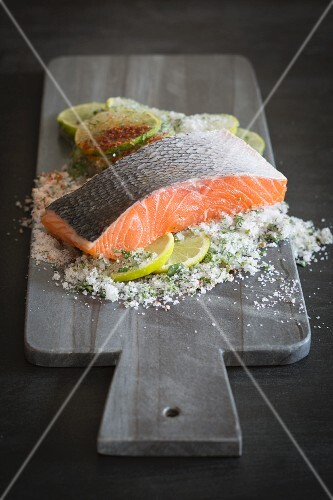Salmon fillet on a stone board