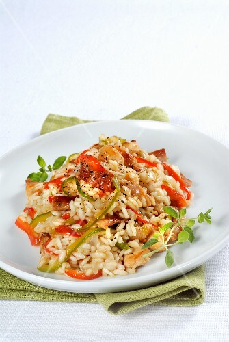 Risotto with rabbit and peppers
