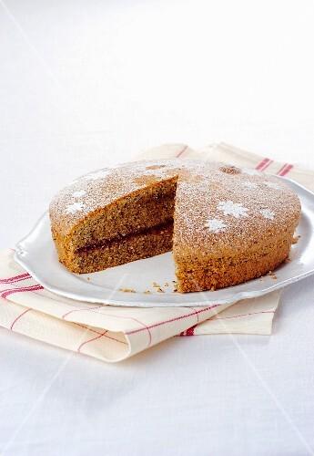 Buckwheat cake with jam, sliced