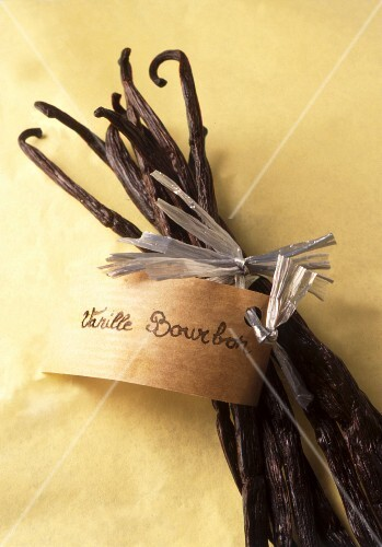 Vanilla pods with a tag attached