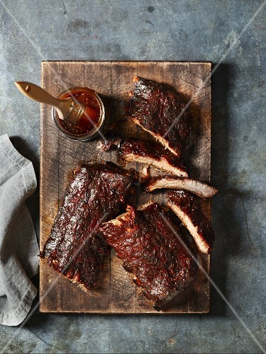 Glazed pork ribs and barbecue sauce with molasses