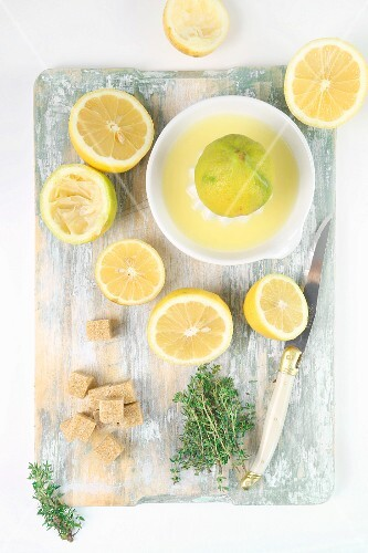 Ingredients for lemonade with thyme