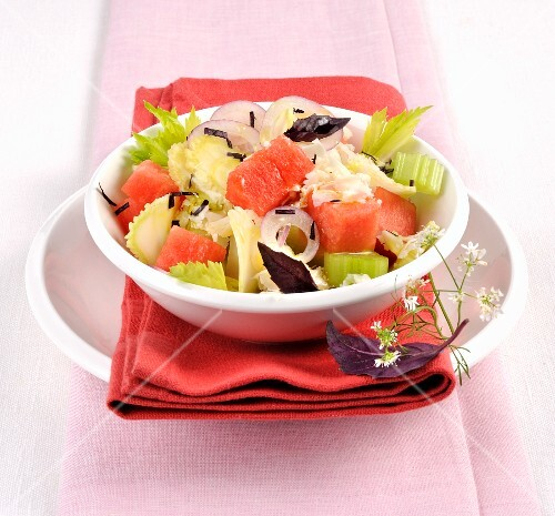 Watermelon salad with celery and feta cheese
