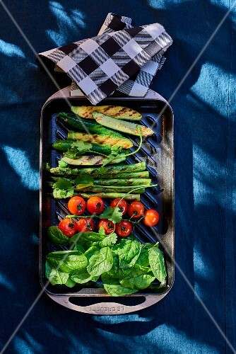 Grilled vegetables on a blue table