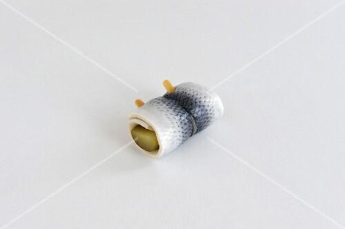 Rollmop herring with gherkins