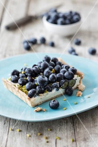 A piece of blueberry tart