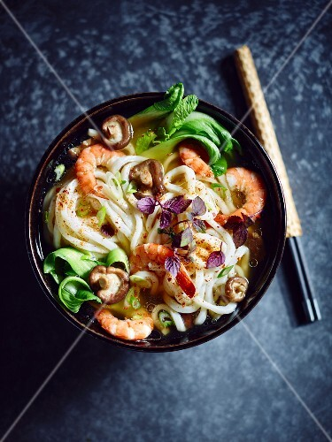 Udon noodles soup with prawns, shiitake mushrooms, bok choy, spring onions, red cress and chilli powder (Asia)