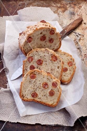 Sliced sausage bread