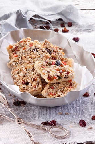 Healthy oat biscuits with almonds, raisins, sunflower seeds and cranberries