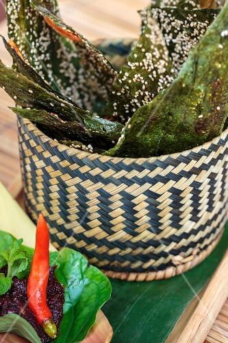 Edible river algae and chilli paste