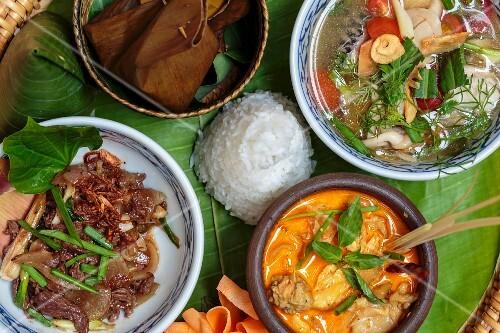 Various dishes on a banana leaf, Luang Prabang, Laos