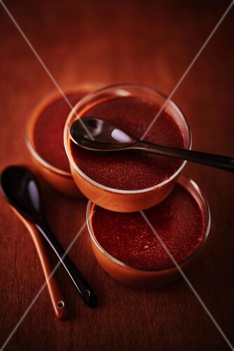 Dark chocolate cream in a glass bowls