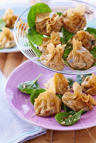 Steamed wontons filled with spinach and feta cheese
