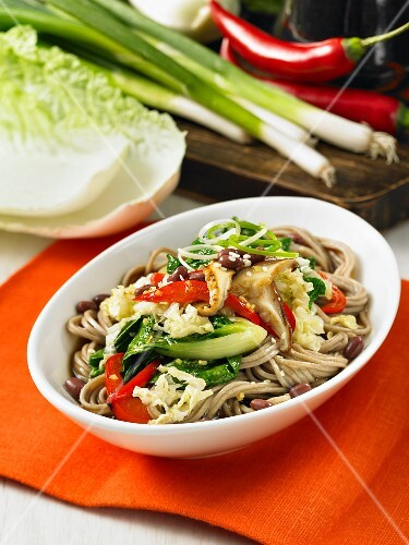 Soba noodles with bok choy, peppers and mushrooms