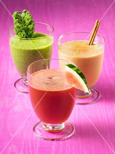 Three different-flavored smoothies