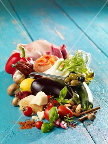 An arrangement of food for Mediterranean keto cuisine