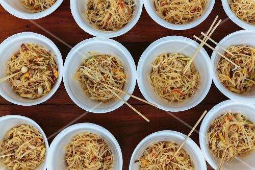 Bowls of noodles, Mae Hong Son, Thailand