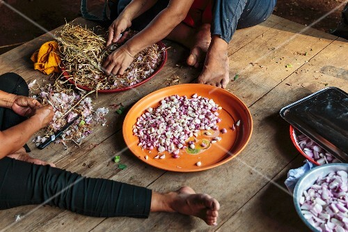 Women shelling garlic, Mae Hong Son, Thailand