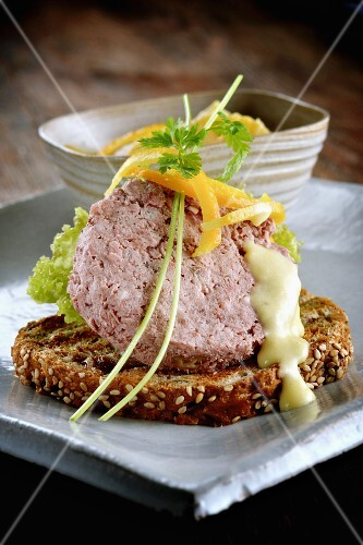 Toast topped with duck pâté
