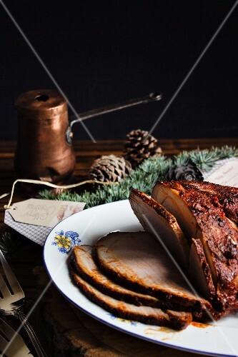 Roast pork marinated in a chilli sauce (Christmas)