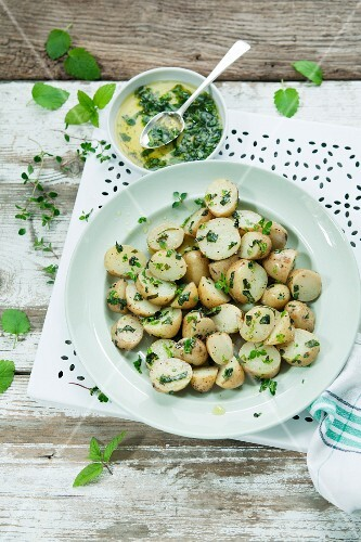 Jersey royal potato salad with a herb oil dressing