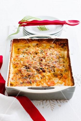 French potato and onion bake as a Christmas side dish