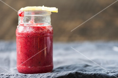 Raspberry, strawberry and pineapple smoothies
