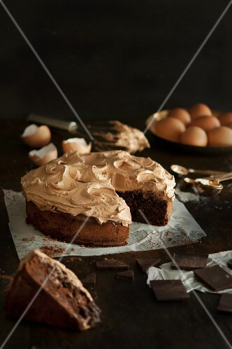 Chocolate cake, partly sliced
