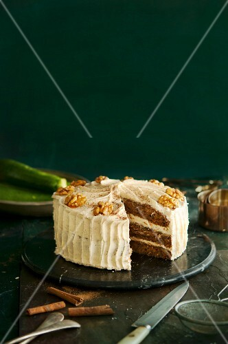 Courgette and walnut cake, sliced
